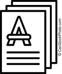 Test papers icon, outline style