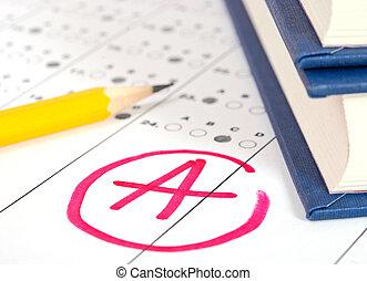 test, papier, met, resultaat