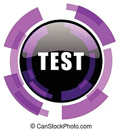 Test pink violet modern design vector web and smartphone icon. Round button in eps 10 isolated on white background.