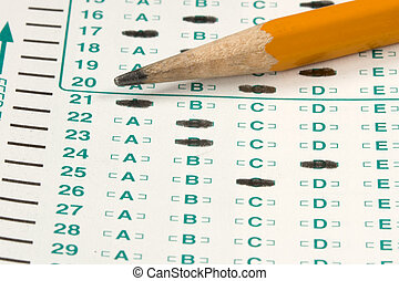 Test Quiz - Standardized quiz or test score sheet with...