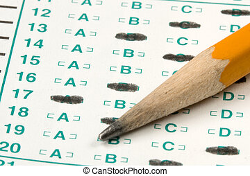 Test Quiz - Standardized quiz or test score sheet with ...