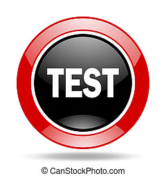 test red and black web glossy round icon