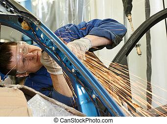 test, repairman, fém, őrlő, autó
