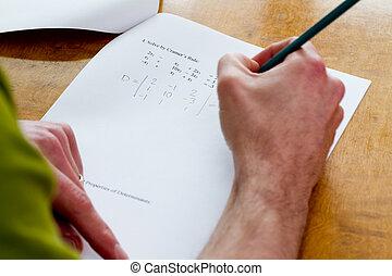 test, schrijvende