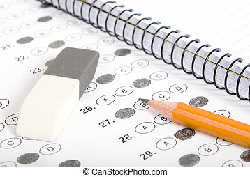 Test score with pencil, notebook and eraser - Test with...
