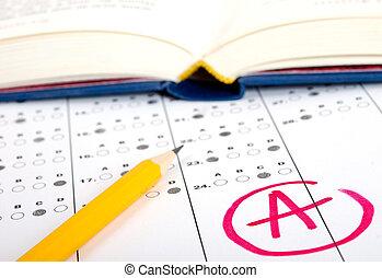 test, scoreblad, met, antwoorden
