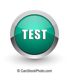 Test silver metallic chrome web design green round internet icon with shadow on white background.