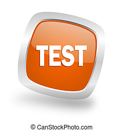 test square orange glossy chrome silver metallic web icon