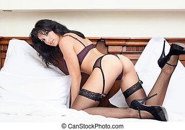 test, szexi, csípős, nő, ágy