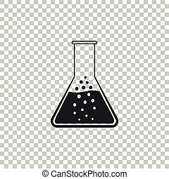 Test tube and flask - chemical laboratory test icon isolated on transparent background. Flat design. Vector Illustration