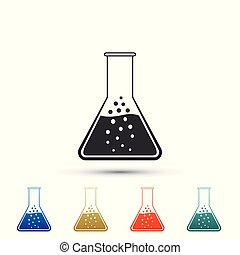 Test tube and flask - chemical laboratory test icon isolated on white background. Set elements in colored icons. Flat design. Vector Illustration