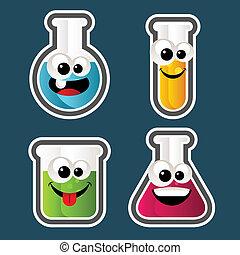 Test Tube Cartoons - Set of test tube and beaker Cartoons