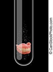 Test tube - Illustration of a glass test tube with teeth...