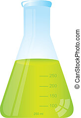 test tube with green liquid isolated over white background...