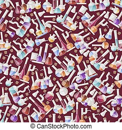 Test-tube flask seamless pattern vector chemical glass test ...