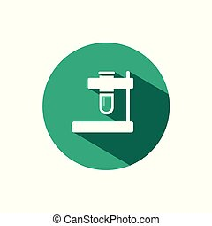 Test tube icon with shadow on a green circle. Vector pharmacy illustration