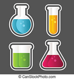 Test Tube Icons - Set of test tube and beaker icons.