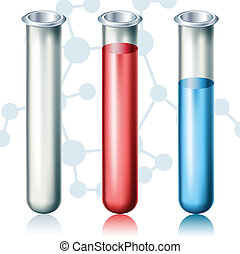 Test tube set with different liquids on chemistry background