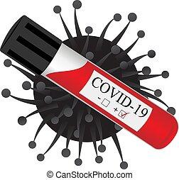 test tube with blood for laboratory, analysis on coronavirus virus infection
