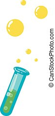 Test tube with bubbles icon, cartoon style