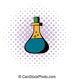 Test tube with oil icon, comics style