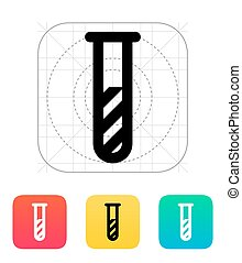 Test tube with substance icon. Vector illustration.