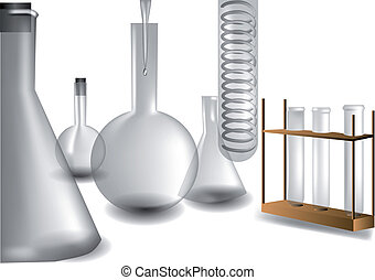 test tubes and flasks for chemical laboratory