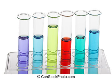 Test tubes filled with colored liquids