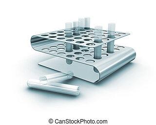 Test tubes in rack - 3D render of test tubes in rack