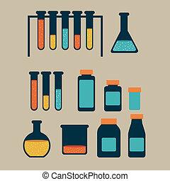 test tubes over beige background vector illustration
