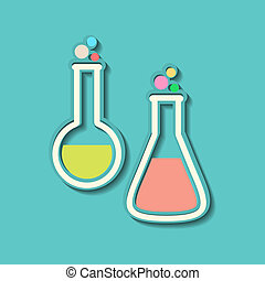 Two retro colorful test tubes on blue background