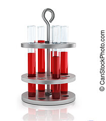 test tubes with blood on a stand
