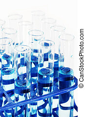 Test tubes with blue liquid
