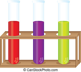 test tubes with container wood over white background vector