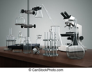 Test tubes with laboratory equipment and microscope on the table.