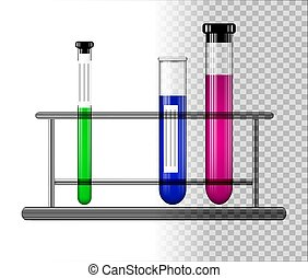Test tubes with liquid on a glass stand. Transparent glass flasks with cap. Vector illustration.