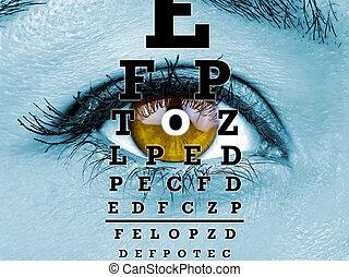 Test vision chart female eye macro