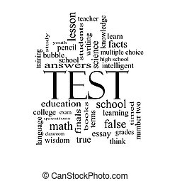 Test Word Cloud Concept in black and white