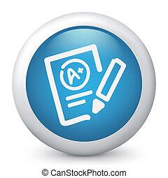 test, znamenitý, vyhodnocení, ikona