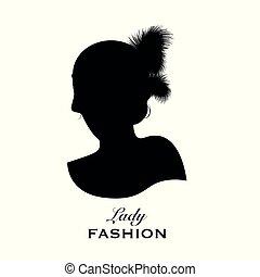 testa, acconciatura, silhouette, 20s, elegante, stile, signora, penna