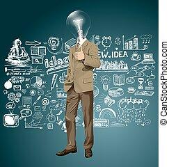 testa, affari, bene, lampada, vettore, fatto, mostra, uomo