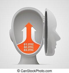 testa, affari, frecce, vettore, crescita, aperto