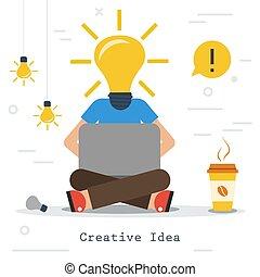 testa, affari, -, idea, creativo, lampada, uomo