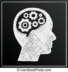 testa, affari, ingranaggio, illustrazione, cervello, idea, vettore, lavagna, uomo
