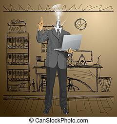 testa, affari, lampada, vettore, qualcosa, uomo, mostra, dito