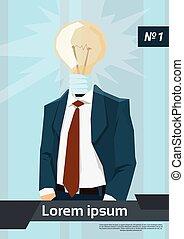 testa, affari, luce, idea, bulbo, uomo nuovo