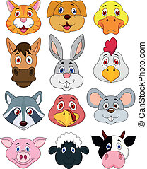 testa animale, cartone animato, set