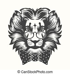 testa, arco, leone, cravatta, vetri rotondi