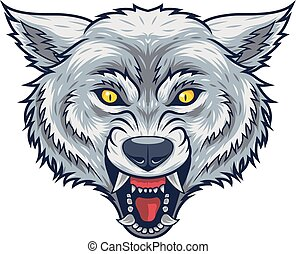testa, arrabbiato, lupo, parli modo enfatico apra, mascotte