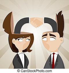 testa, assegno, donna d'affari, mano, essi, uomo affari, cartone animato